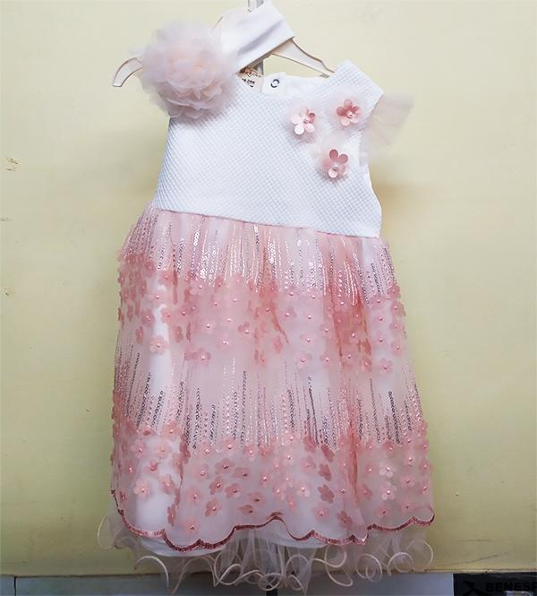 Detské šaty bielo-ružové 18-24m